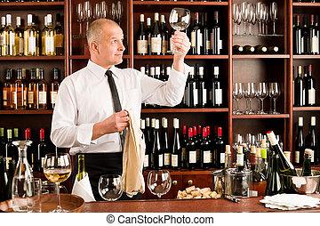 hinder, restaurang, uppassare, glas, ren, vin