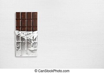 hinder, trä topp, choklad, florett, bord, synhåll
