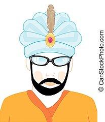 hindoe, hoedje, man
