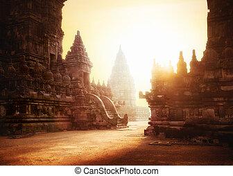 hindoe, indonesie, prambanan, java, temple., zonopkomst