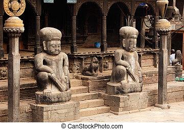 hindoe, ingang, nepal, tempel