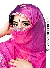 hindou, femme, headscarf, indien