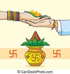 hindou, mariage, palefrenier, indien, mariée