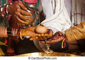 hindou, rituel, kanyadaan, mariage