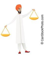 hindou, scale., équilibre, tenue, homme affaires