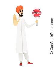 hindou, signe., arrêt, tenue, homme affaires, route