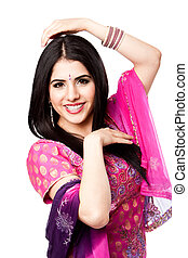 hindou, sourire, indien, femme heureuse