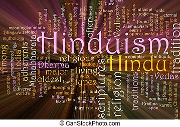 hindouisme, incandescent, mot, nuage
