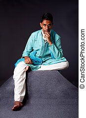 hindu, assento homem, e, pensando