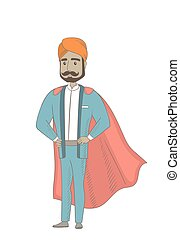 Hindu businessman dressed as a superhero.
