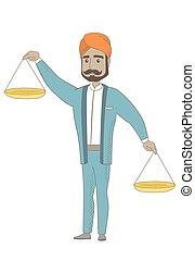 Hindu businessman holding balance scale.