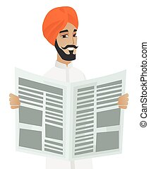 Young hindu happy businessman standing with a newspaper in hands. Cheerful smiling businessman reading good news in a newspaper. Vector flat design illustration isolated on white background.