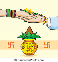 hindu, casório, noivo, indianas, noiva