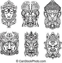 Hindu deity masks. Set of black and white vector...
