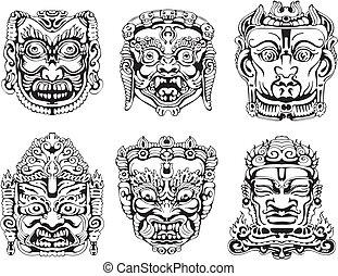 Hindu deity masks. Set of black and white vector illustrations.