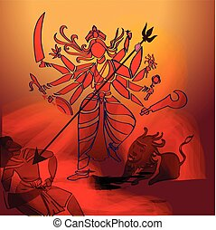 hindu, durga, goddess.
