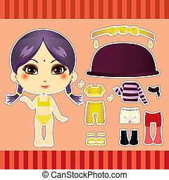 Hindu Fashion Girl - Cute hindu fashion paper doll girl...