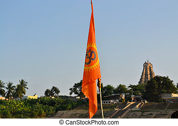 Hindu flag in front of temple