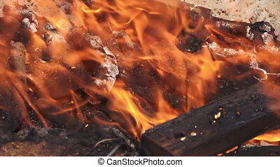 Hindu Funeral Pyre at the Ganges, India - Extreme close-up...