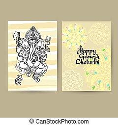 Hindu God Ganesha Cards. Handwritten words Happy Ganesh Chaturth
