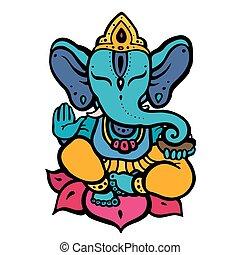 Hindu God Ganesha - Elephant. Hindu God Ganesha. Hand drawn...