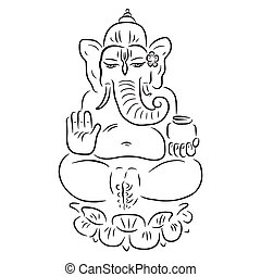 Hindu God Ganesha. Ganapati. Vector hand drawn illustration....