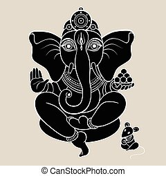 Hindu God Ganesha. Ganapati. Vector hand drawn illustration....