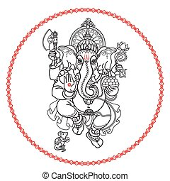 Hindu God Ganesha. Hand drawn tribal style. Vector.