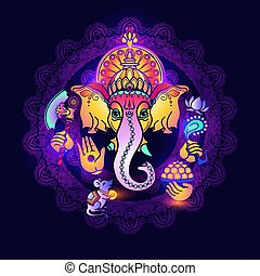 Hindu God Ganesha. Colorful card with Lord Ganesh. Hand drawn tribal style Vector illustration. Hindu elephant. Happy ganesh chaturthi design.