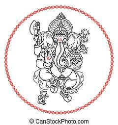 Hindu God Ganesha. Hand drawn tribal style. Vector.