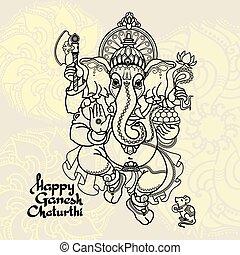 Hindu God Ganesha. Hand drawn Vector illustration.