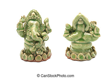 Hindu God Ganesha statue : Lord of Success on white background.