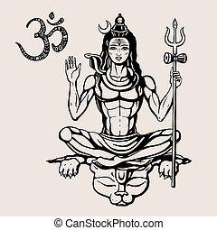 Hindu god Shiva - Lord Shiva Hindu god Pose meditation....