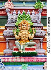 Hindu god statue on temple