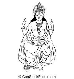 Hindu God Vishnu. Vector illustration.