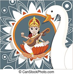 Hindu Goddess Saraswati with White Swan Vector Illustration