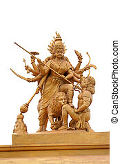 Powerful hindu godess Kali statue in golden color