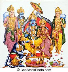 hindu gods - hindu deity Hanuman and Lord Rama and his wife...