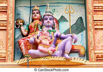 Hindu gods - Hindu god lord Shiva, Godess Parvathi and...