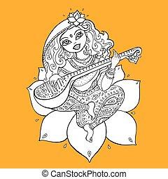 hindu gudinde, saraswati.