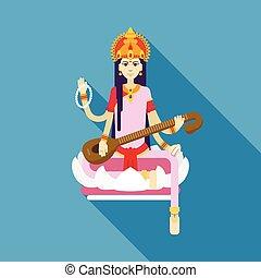hindu gudinde, saraswati, lejlighed
