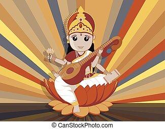 hindu gudinde, vektor, saraswati