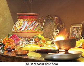 Hindu Hinduism religion religious Navratri event hom -...