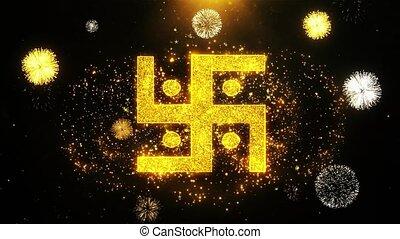 Hindu, holy, indian, religion, Icon on Firework Display...
