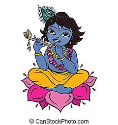 hindu, krishna., deus
