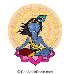 hindu, krishna., gud