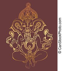 hindu lord ganesha ornate gold sketch drawing, tattoo, yoga, spi