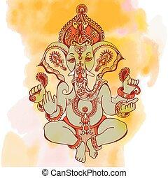 hindu lord ganesha ornate sketch drawing on watercolor backgroun