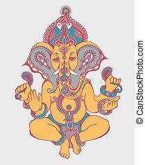 hindu lord ganesha ornate sketch drawing, tattoo, yoga, spiritua