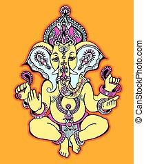 hindu lord ganesha ornate sketch drawing, tattoo, yoga